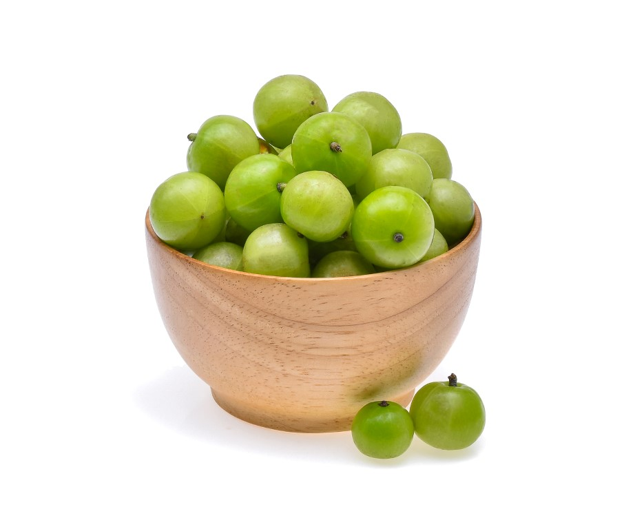 Indian gooseberry or Amla (Phyllanthus emblica) isolated on whit